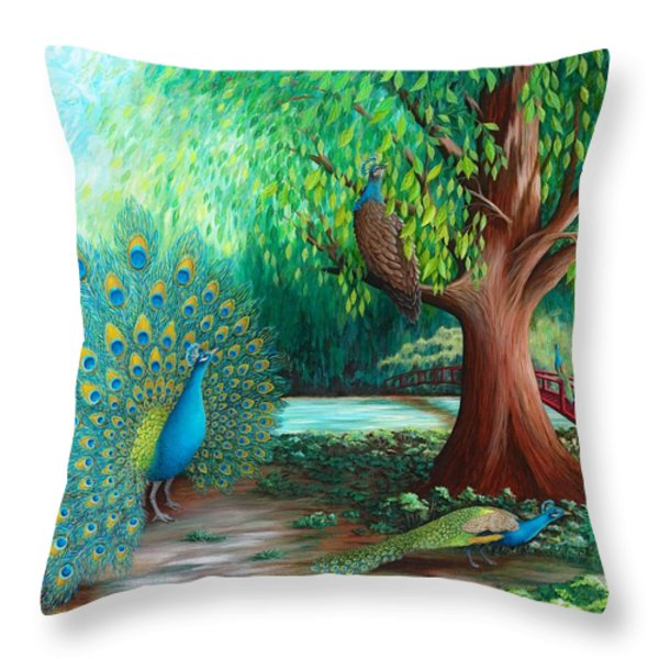 Suitors Throw Pillow by Katherine Young-Beck