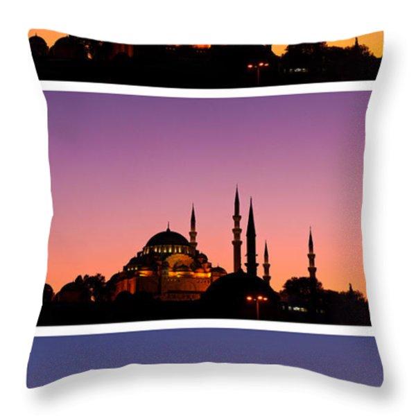 Suleymaniye Sundown Triptych 03 Throw Pillow by Rick Piper Photography