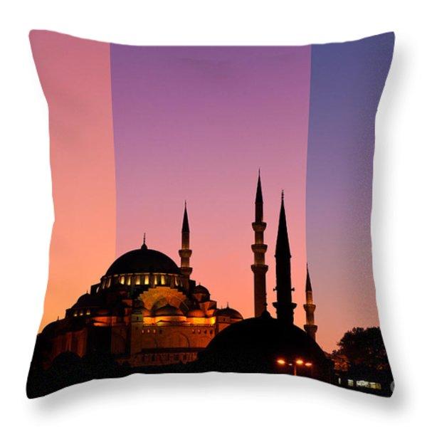 Suleymaniye Sundown Triptych 05 Throw Pillow by Rick Piper Photography