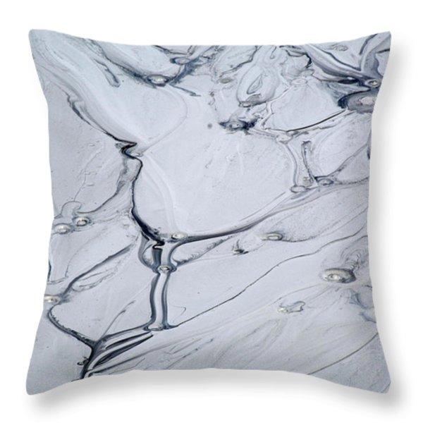 Sulphur Caldron Mud Art Yellowstone Throw Pillow by Bruce Gourley