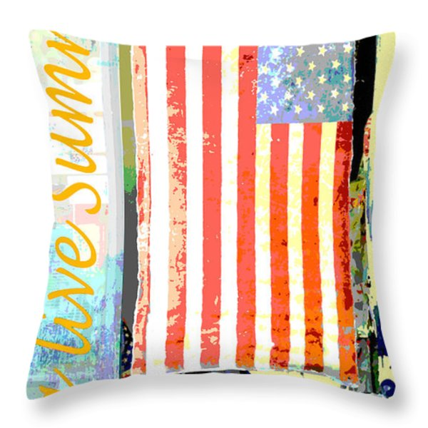 Summer And Beach Americana Throw Pillow by Adspice Studios