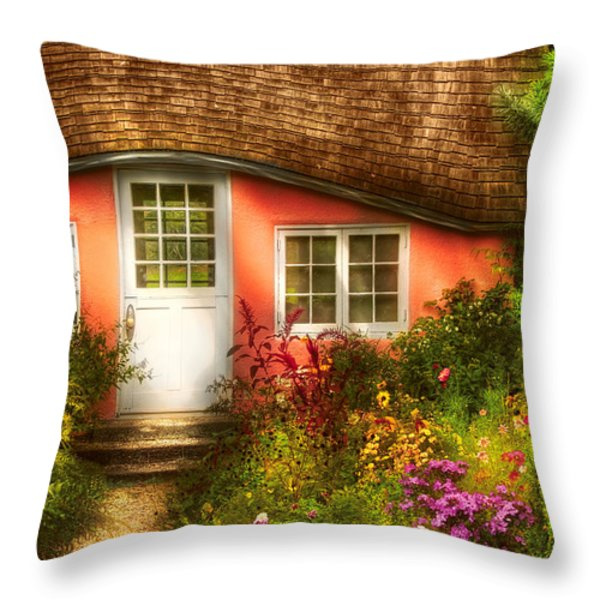 Summer - Cottage - Little Pink Play House Throw Pillow by Mike Savad