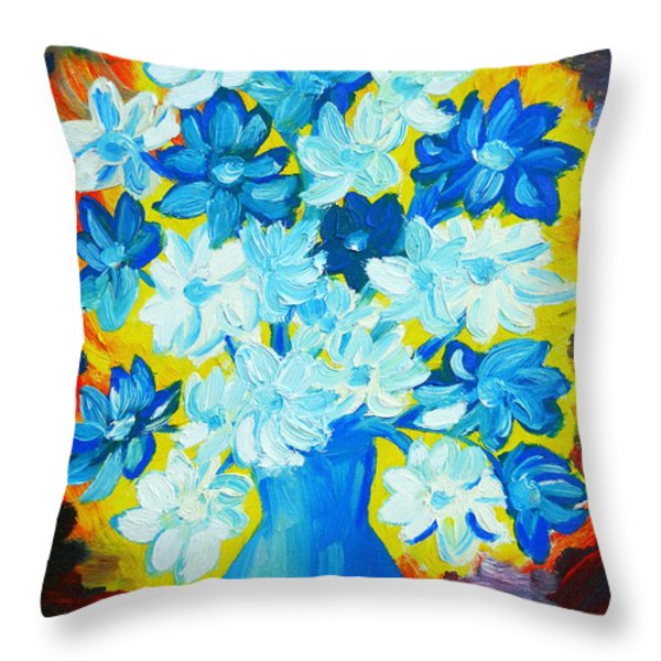 Summer Daisies Throw Pillow by Ramona Matei