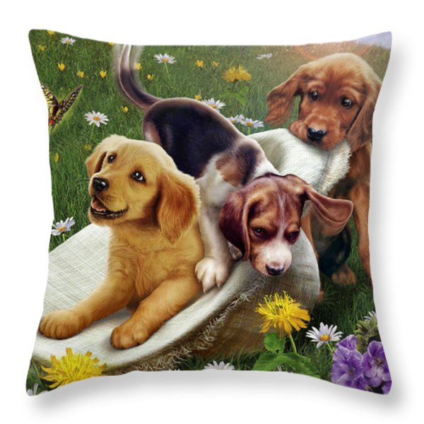 Summer Frolics Throw Pillow by Andrew Farley