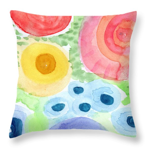 Summer Garden Blooms- Watercolor Painting Throw Pillow by Linda Woods