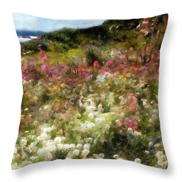 Summer Garden On La Cote D'azur Throw Pillow by RC DeWinter