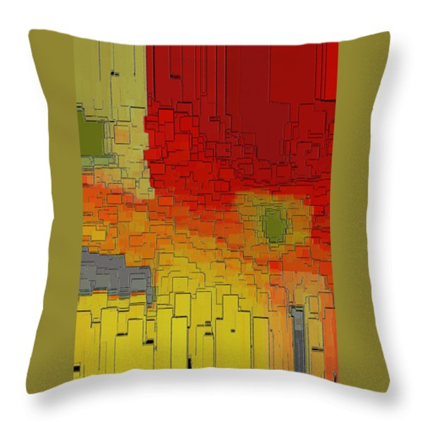 Summer In The Big City - Fantasy Cityscape Throw Pillow by Ben and Raisa Gertsberg