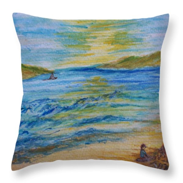Summer/ North Wales Throw Pillow by Teresa White