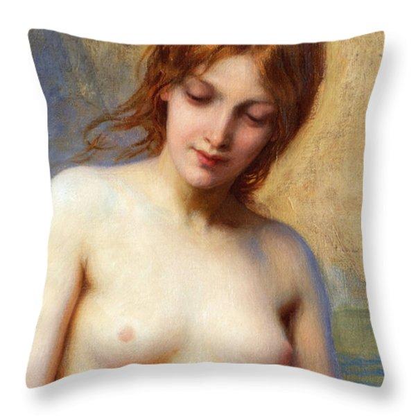 Summer Seas Detail Throw Pillow by Herbert James Draper