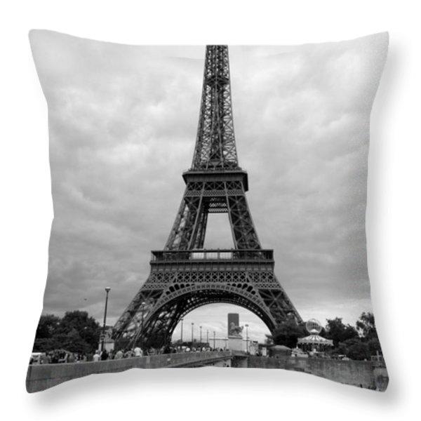 Summer Storm over the Eiffel Tower Throw Pillow by Carol Groenen