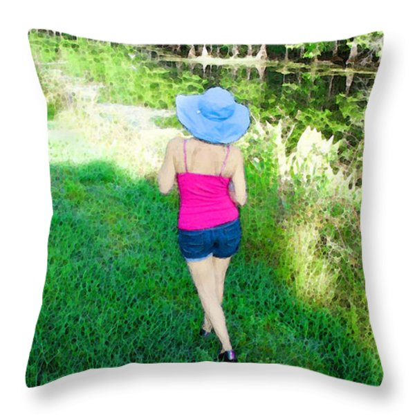 Summer Stroll In The Park - Art by Sharon Cummings Throw Pillow by Sharon Cummings