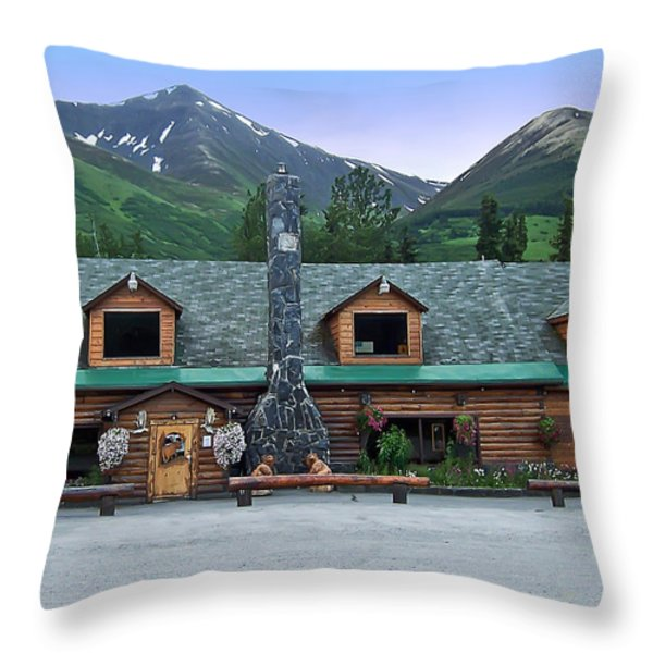 Summit Lake Lodge Alaska Throw Pillow by Aimee L Maher Photography and Art