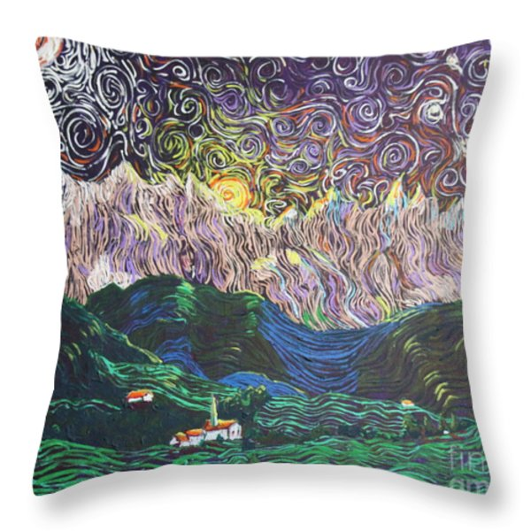 Sun And Moon Night Throw Pillow by Stefan Duncan