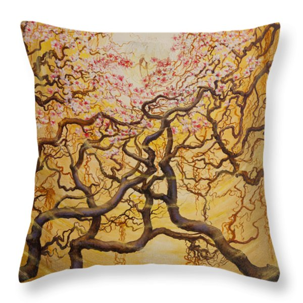 Sun And Sakura Throw Pillow by Vrindavan Das