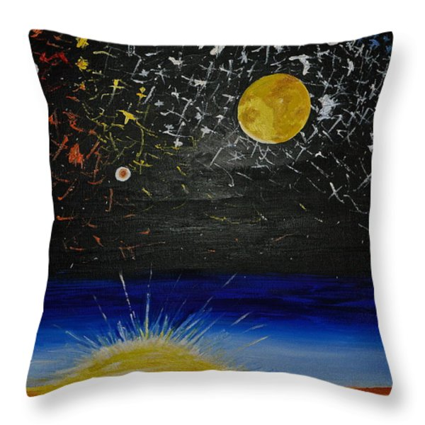 Sun Moon and Stars Throw Pillow by Donna Blossom