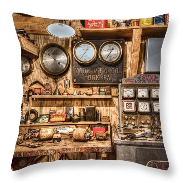 Sun Motor Tester Throw Pillow by Debra and Dave Vanderlaan