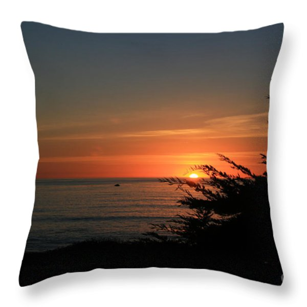 Sun Setting in Cambria Calm Pacific Throw Pillow by Ian Donley