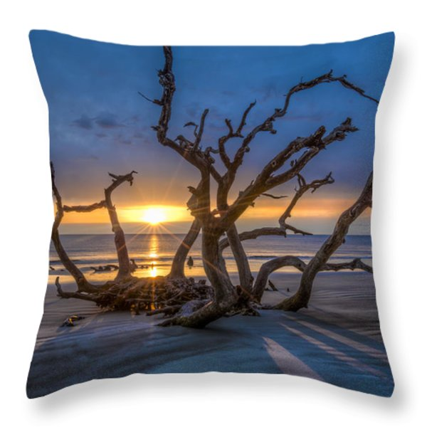 Sun Shadows Throw Pillow by Debra and Dave Vanderlaan