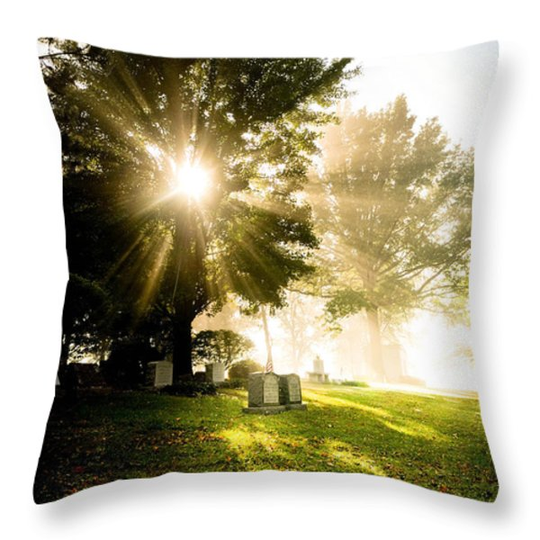 Sunburst Over Cemetery Throw Pillow by Amy Cicconi