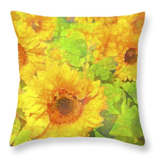 Sunflower 19 Throw Pillow by Pamela Cooper