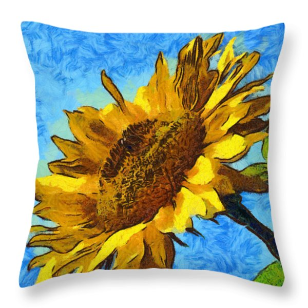 Sunflower Abstract Throw Pillow by unknown