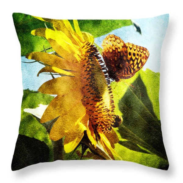 Sunflower Butterfly And Bee Throw Pillow by Andee Design