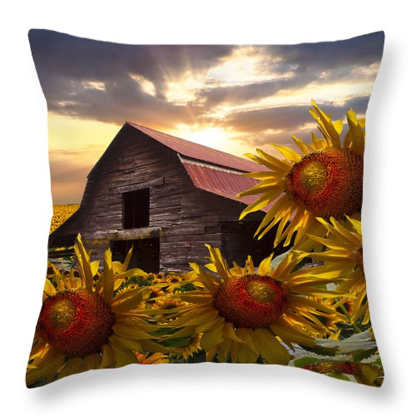 Sunflower Dance Throw Pillow by Debra and Dave Vanderlaan