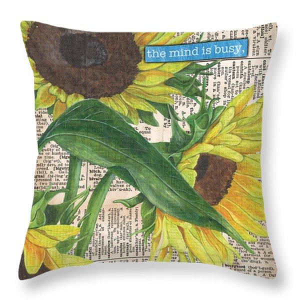 Sunflower Dictionary 1 Throw Pillow by Debbie DeWitt