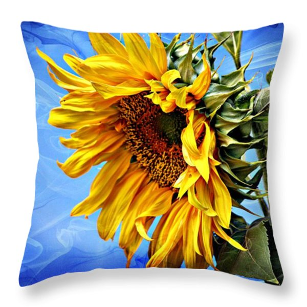 Sunflower Fantasy Throw Pillow by Barbara Chichester