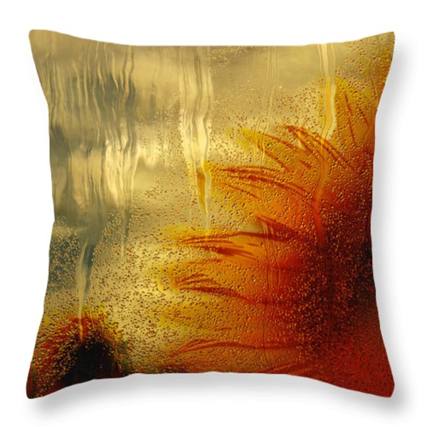 Sunflower In The Rain Throw Pillow by Jack Zulli