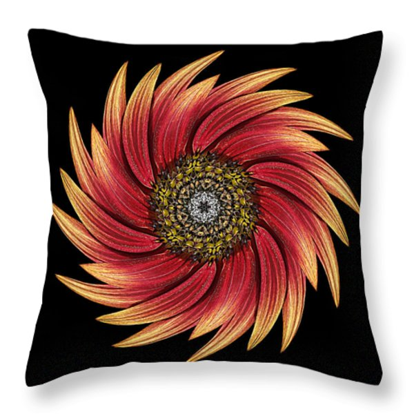 Sunflower Moulin Rouge Ix Flower Mandala Throw Pillow by David J Bookbinder