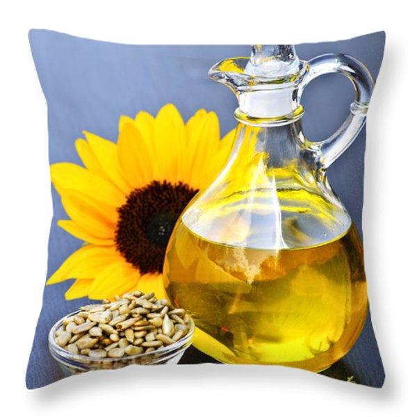 Sunflower oil bottle Throw Pillow by Elena Elisseeva