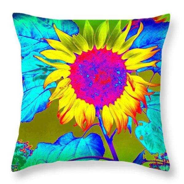 Sunflower Pop Throw Pillow by Ed Weidman