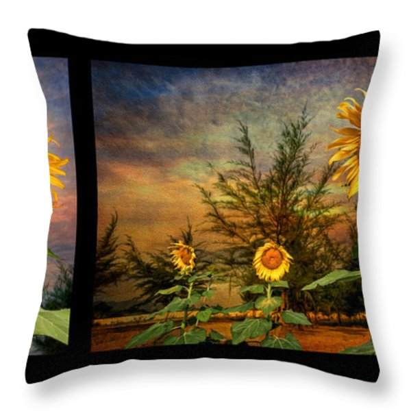 Sunflowers Throw Pillow by Adrian Evans