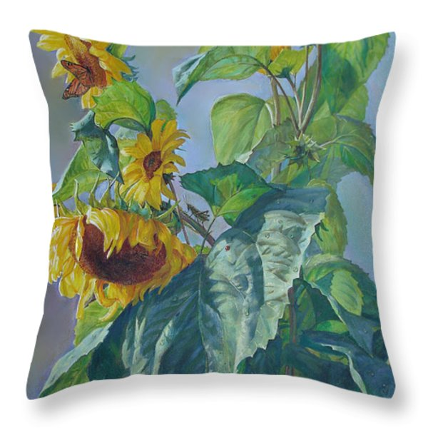 Sunflowers After the Rain Throw Pillow by Svitozar Nenyuk