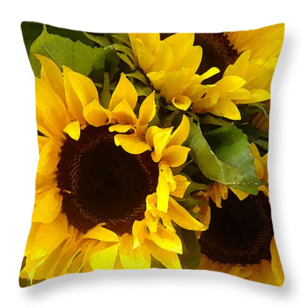 Sunflowers Throw Pillow by Amy Vangsgard