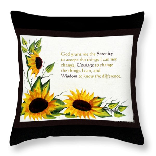 Sunflowers And Serenity Prayer Throw Pillow by Barbara Griffin