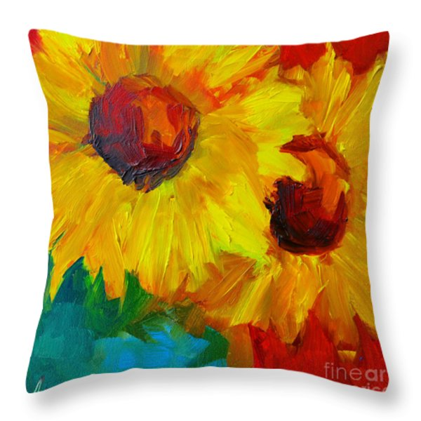 Sunflowers Girasoles Still Life Throw Pillow by Patricia Awapara