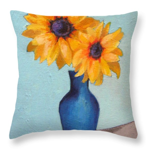 Sunflowers In A Blue Vase Throw Pillow by Venus