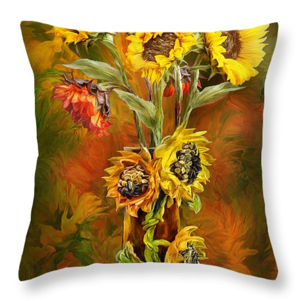 Sunflowers In Sunflower Vase Throw Pillow by Carol Cavalaris