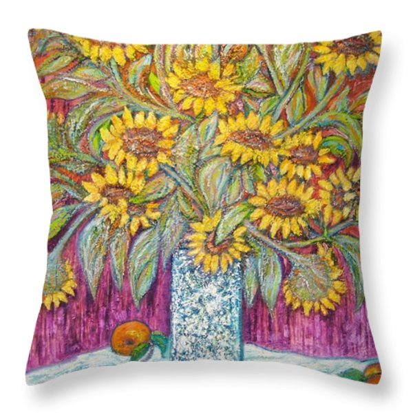 SUNFLOWERS with RED APPLES Throw Pillow by Gunter  Hortz