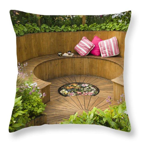 Sunken Garden Throw Pillow by Anne Gilbert