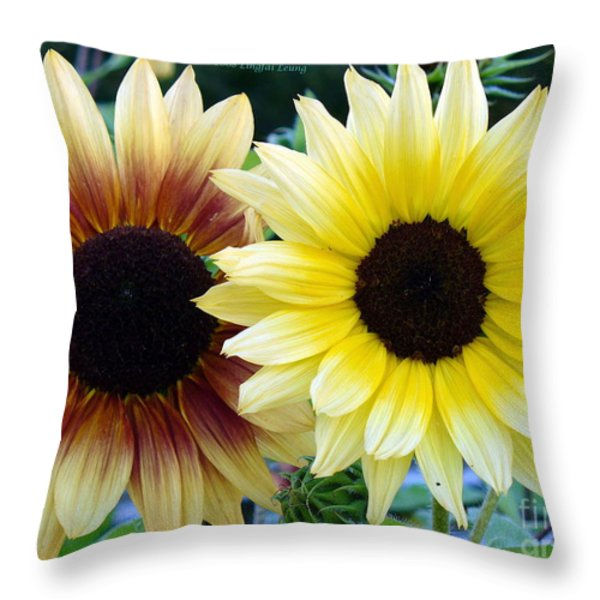 Sunny And Peachy Throw Pillow by Lingfai Leung