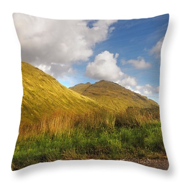 Sunny Day At Rest And Be Thankful. Scotland Throw Pillow by Jenny Rainbow