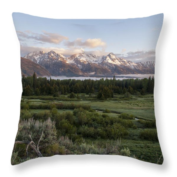 Sunrise At Grand Teton Throw Pillow by Brian Harig
