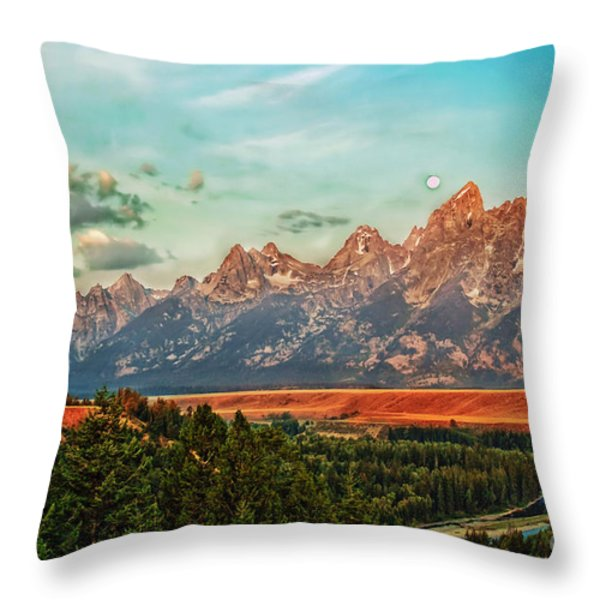 Sunrise At Grand Tetons Throw Pillow by Robert Bales