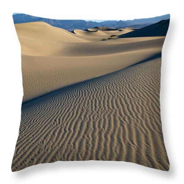 Sunrise At Mesquite Flat Sand Dunes Throw Pillow by Sandra Bronstein