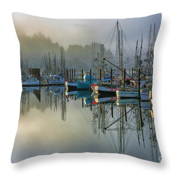 Sunrise At Newport Harbor Throw Pillow by Sandra Bronstein