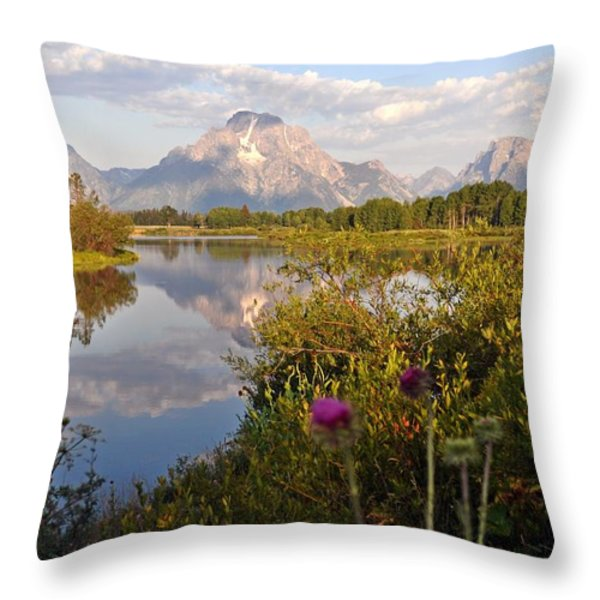 Sunrise At Oxbow Bend 5 Throw Pillow by Marty Koch