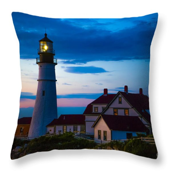 Sunrise at Portland Head Lighthouse Throw Pillow by Diane Diederich